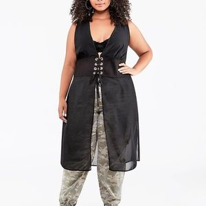 1X ASHLEY STEWART SHEER CORSET DUSTER BLOUSE TOP